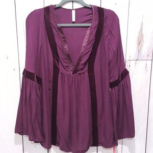 Xhilaration | Purple Plum Peasant Long Sleeve Top